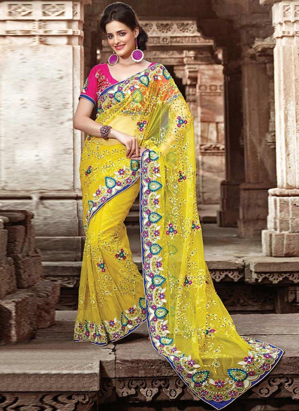 Yellow Net Designer Saree