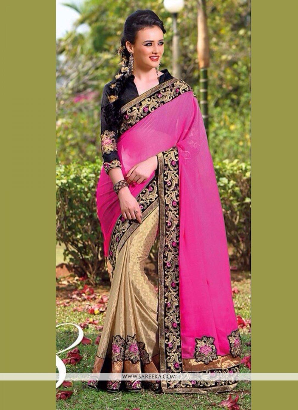 Pink And Beige Jacquard Half And Half Saree