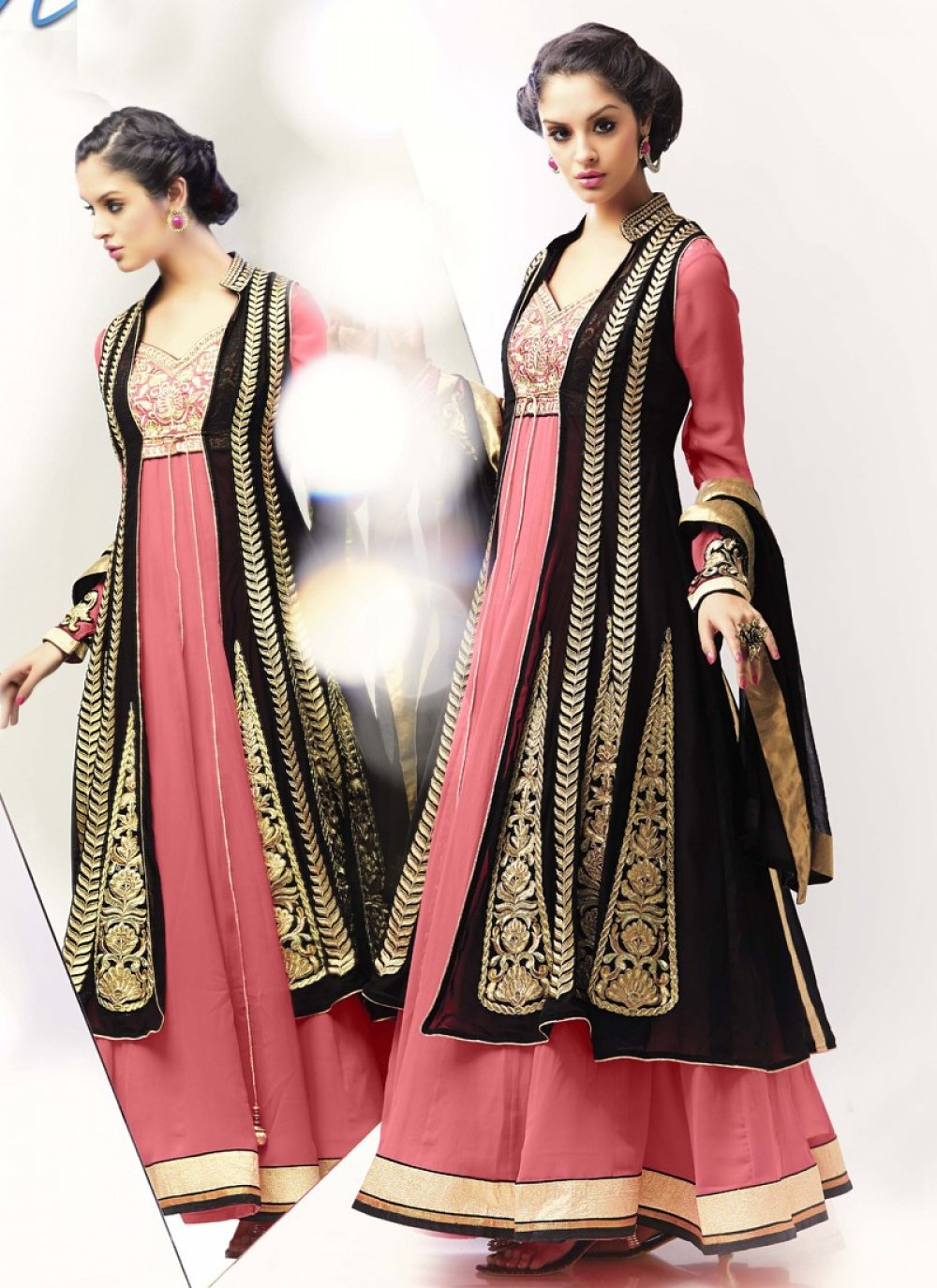 Pink And Black Embroidery Work Party Wear Anarkali Suit
