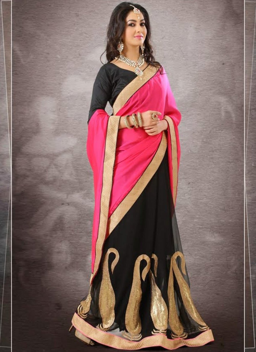 Pink And Black Faux Georgette Half And Half Saree