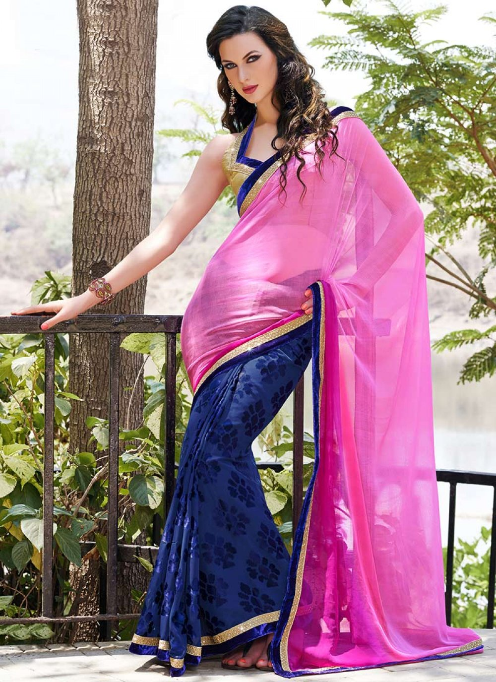 Pink And Blue Brasso Georgette Lace Work Saree