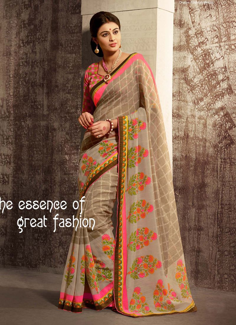Pink And Brown Shaded Printed Saree