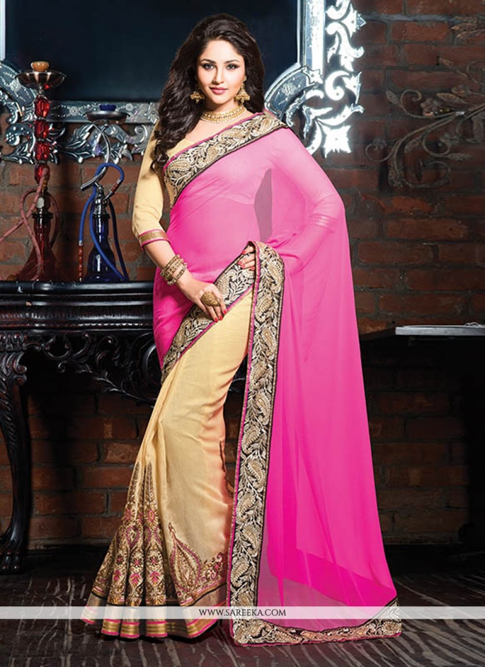 Pink And Cream Border Work Designer Saree