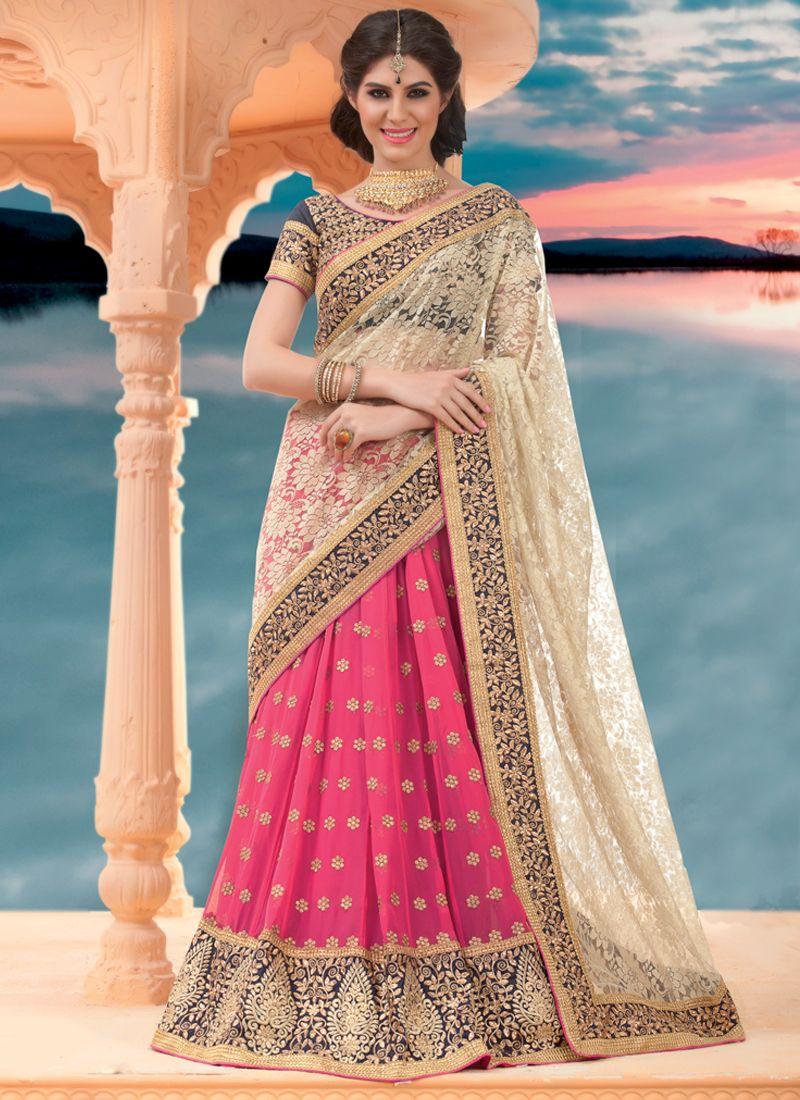 Pink And Cream Embroidery Lehenga Saree