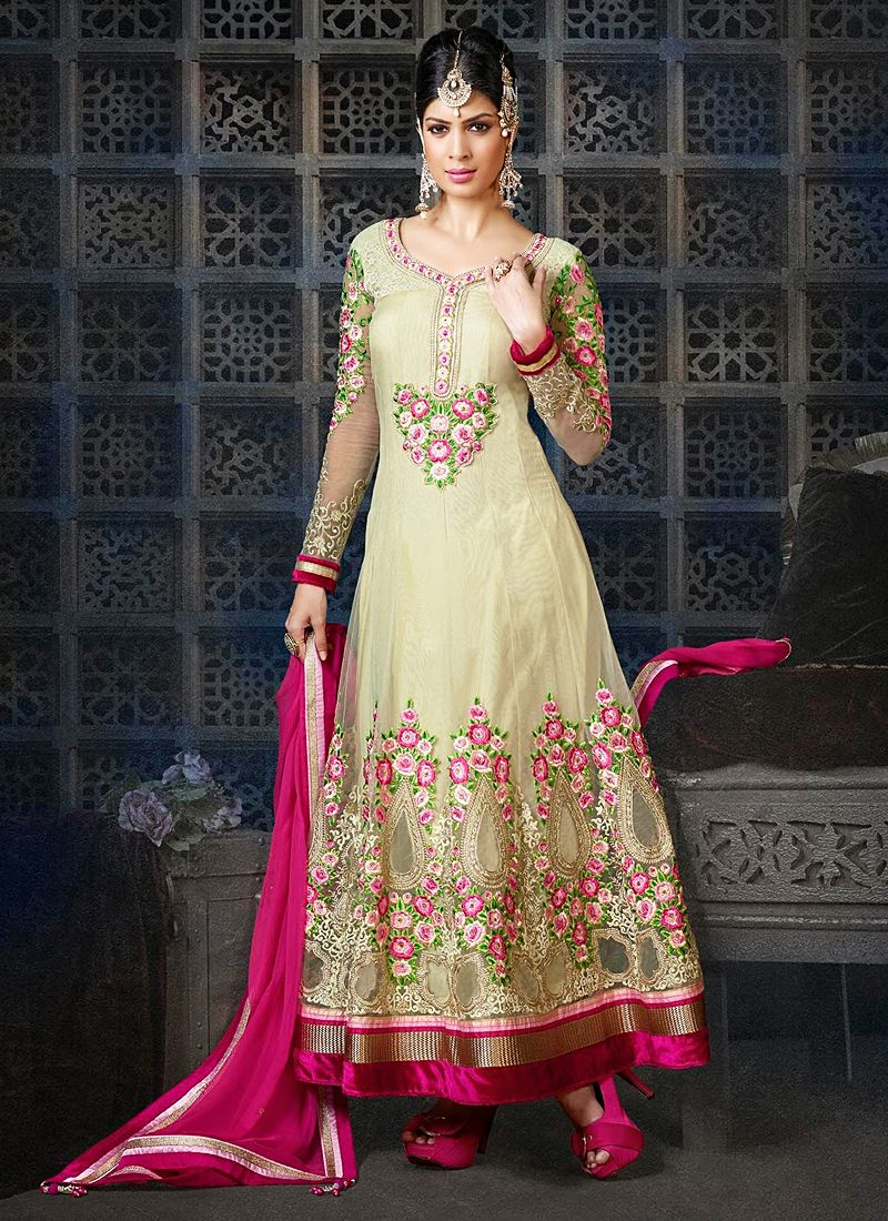 Pink And Cream Embroidery Net Anarkali Suit