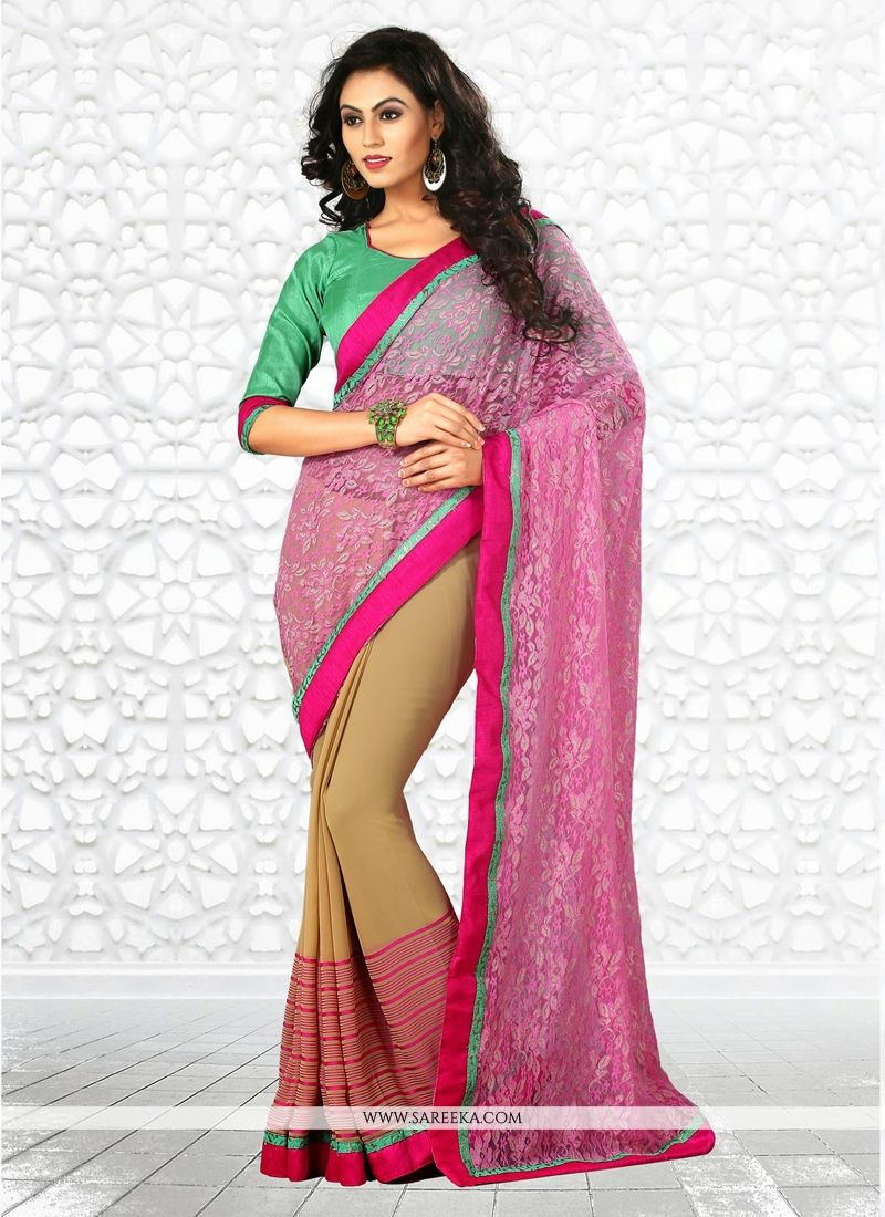 Pink And Cream Georgette And Net Saree