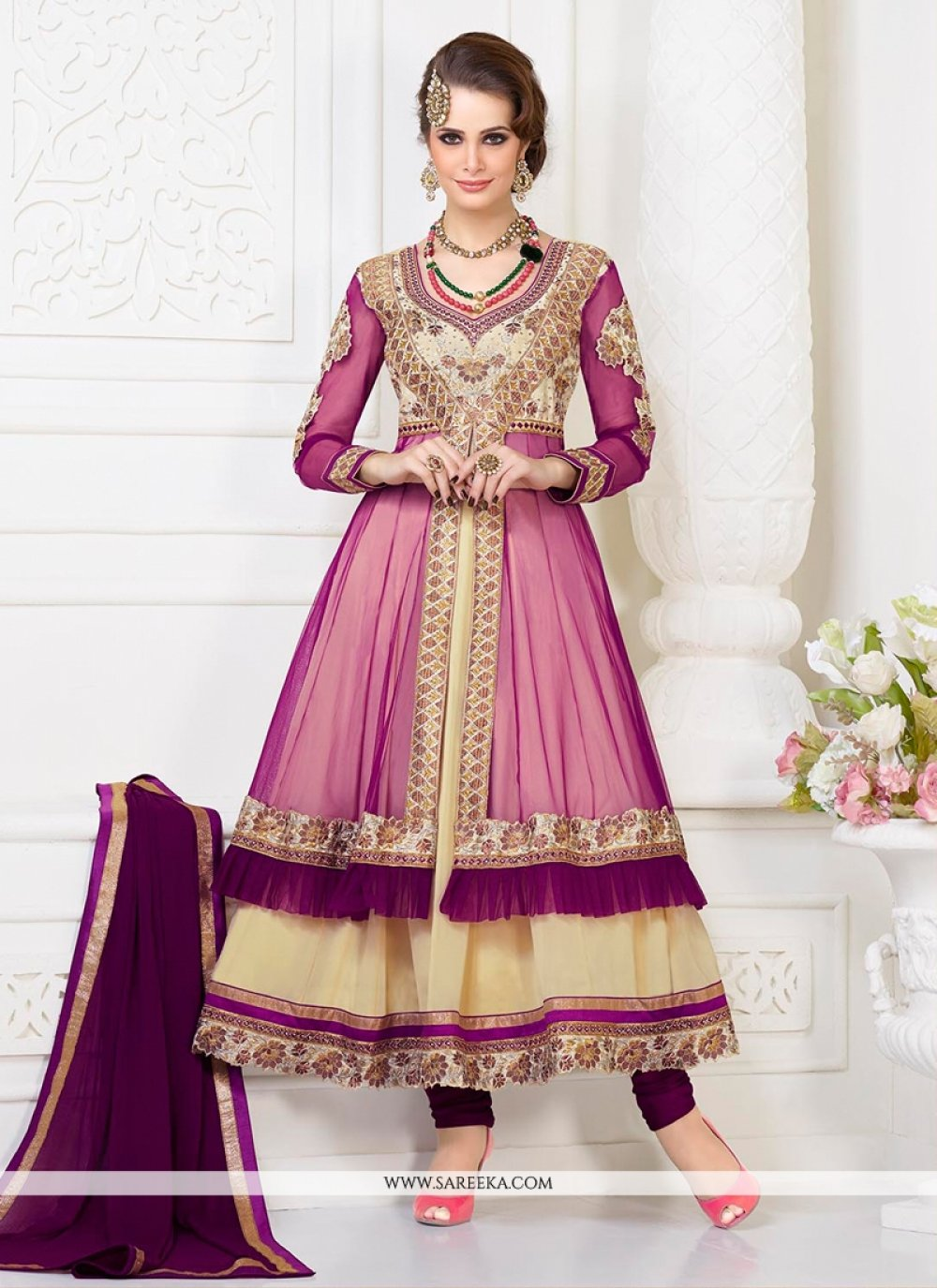 Pink And Cream Net And Georgette Anarkali Suit