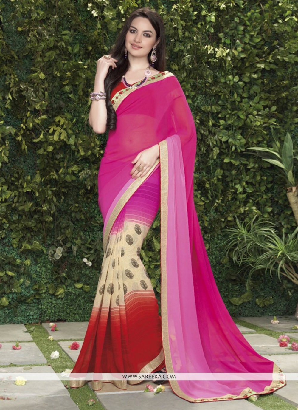 Pink And Cream Shaded Less Georgette Casual Saree