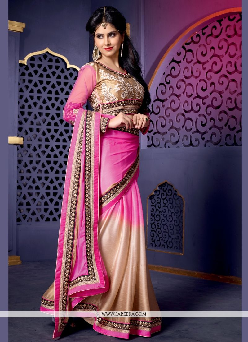 Pink And Cream Shaded Satin Silk Saree