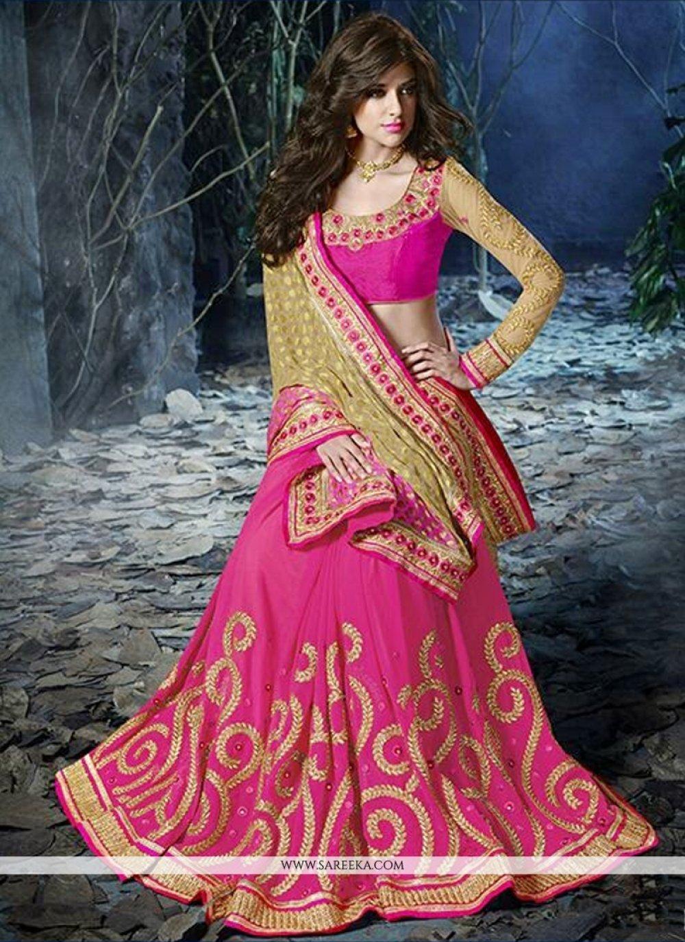 Pink And Cream Viscose Designer Saree