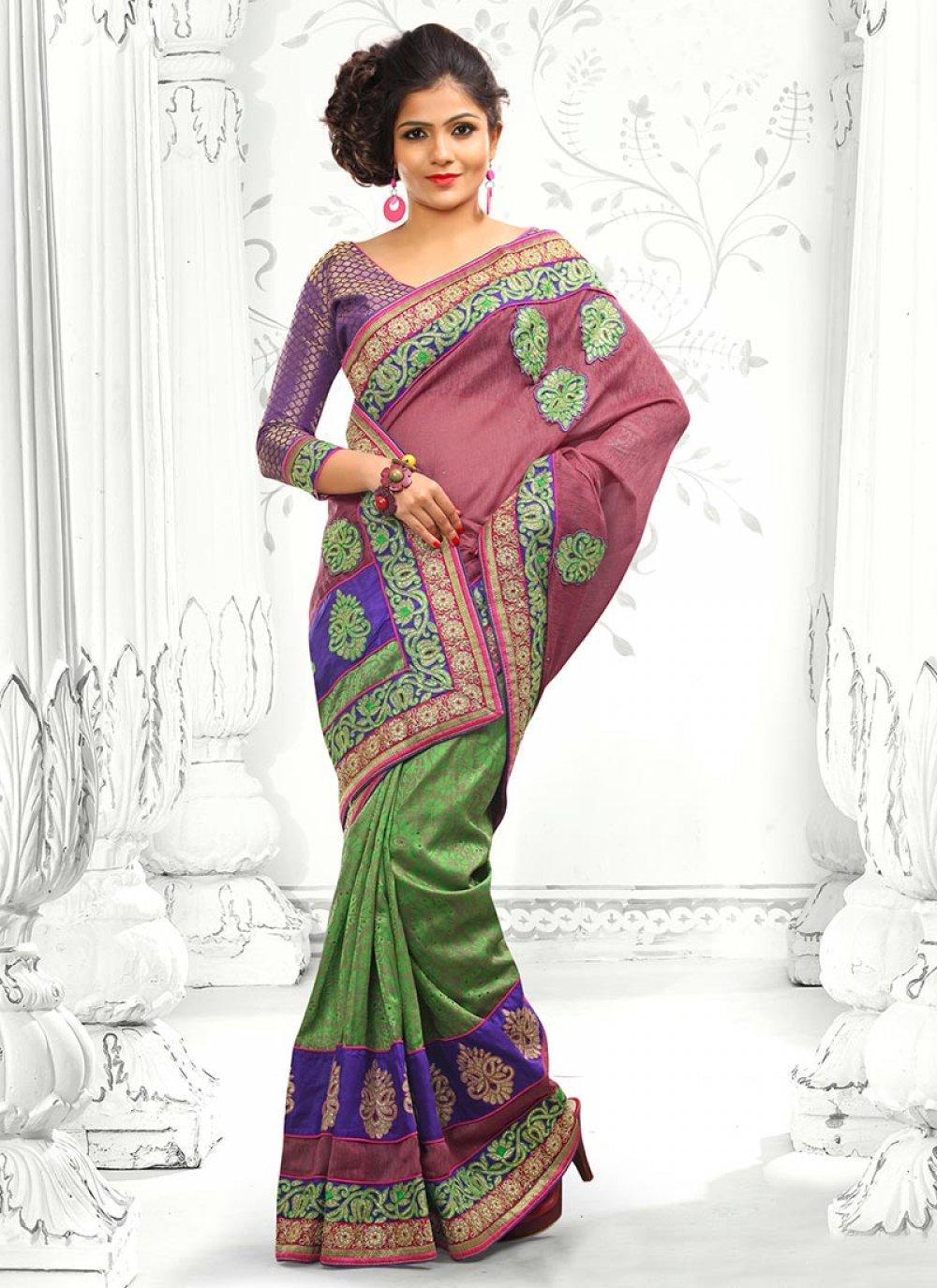 Pink And Green Bhagalpuri Silk Saree