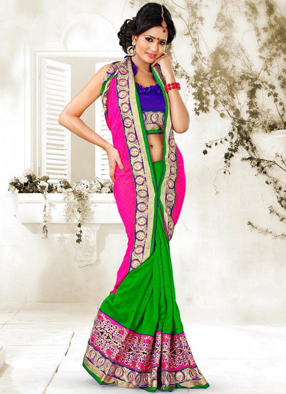 Pink And Green Faux Chiffon Saree