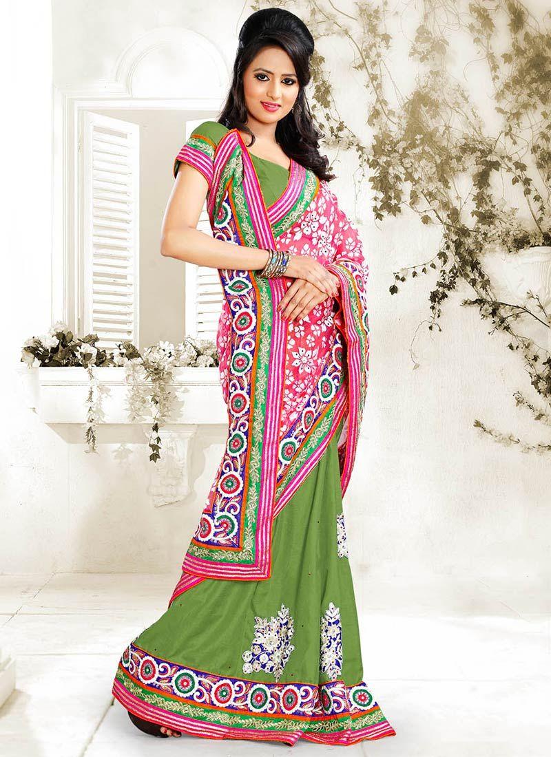 Pink And Green Net Half And Half Saree