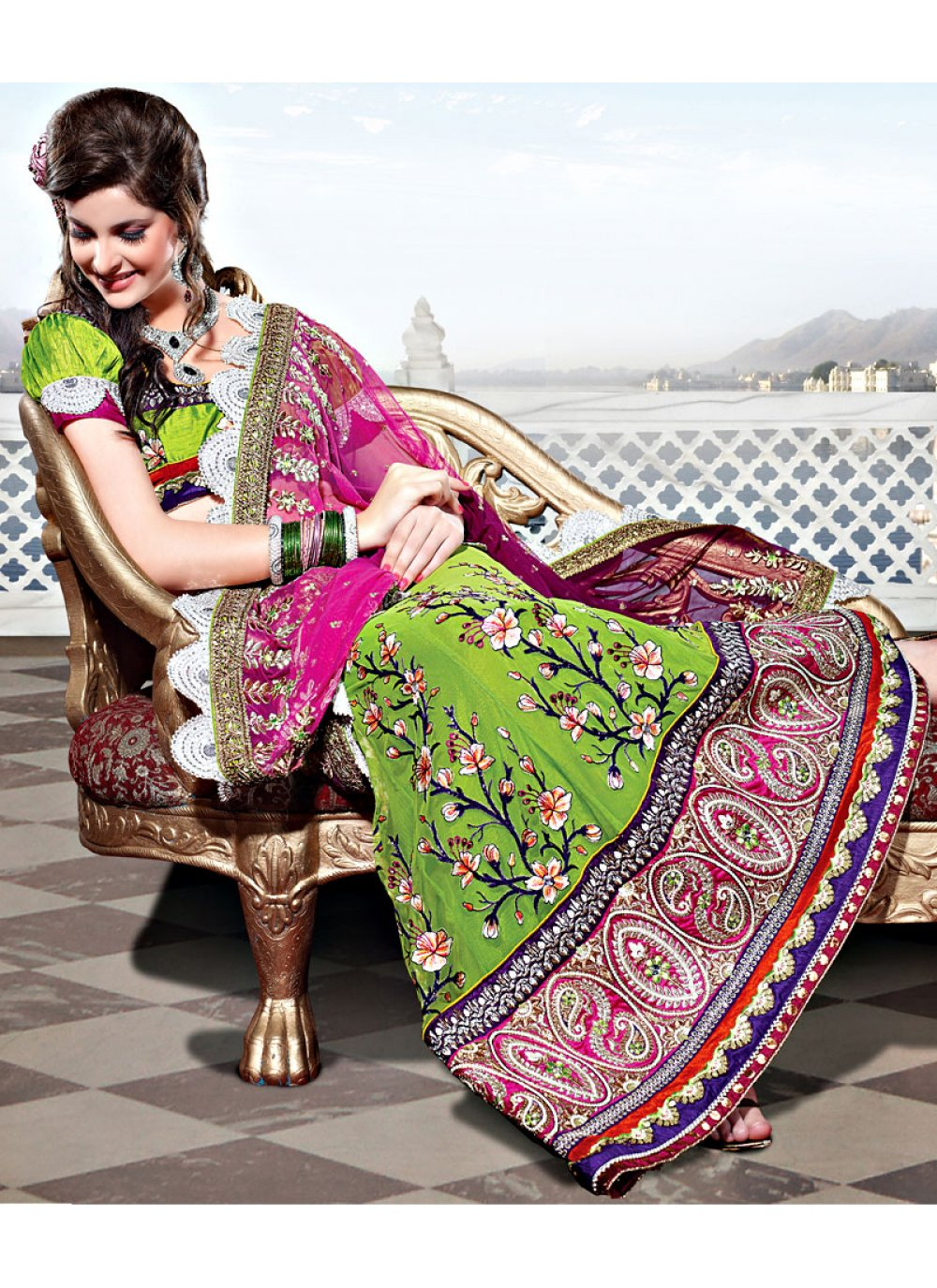 Pink and Green Net Lehenga Style Saree