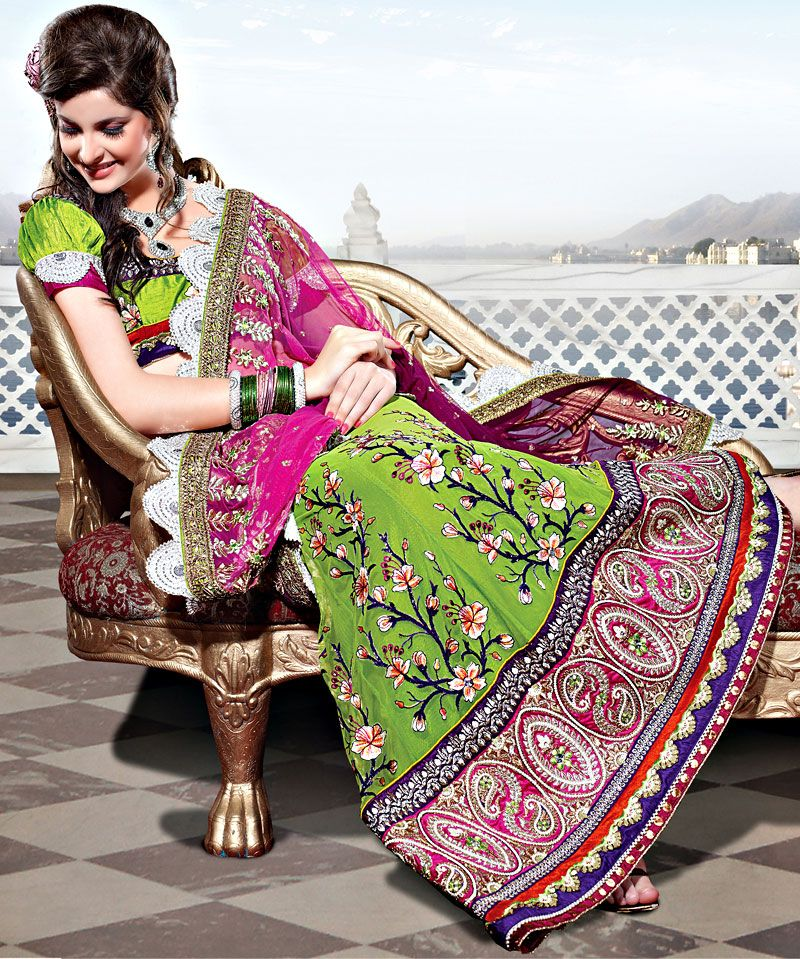 Pink and Green Net Lehenga Style Saree