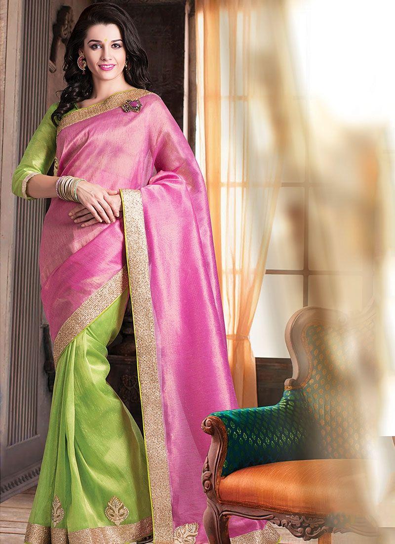 Pink And Green Pure Jute Saree