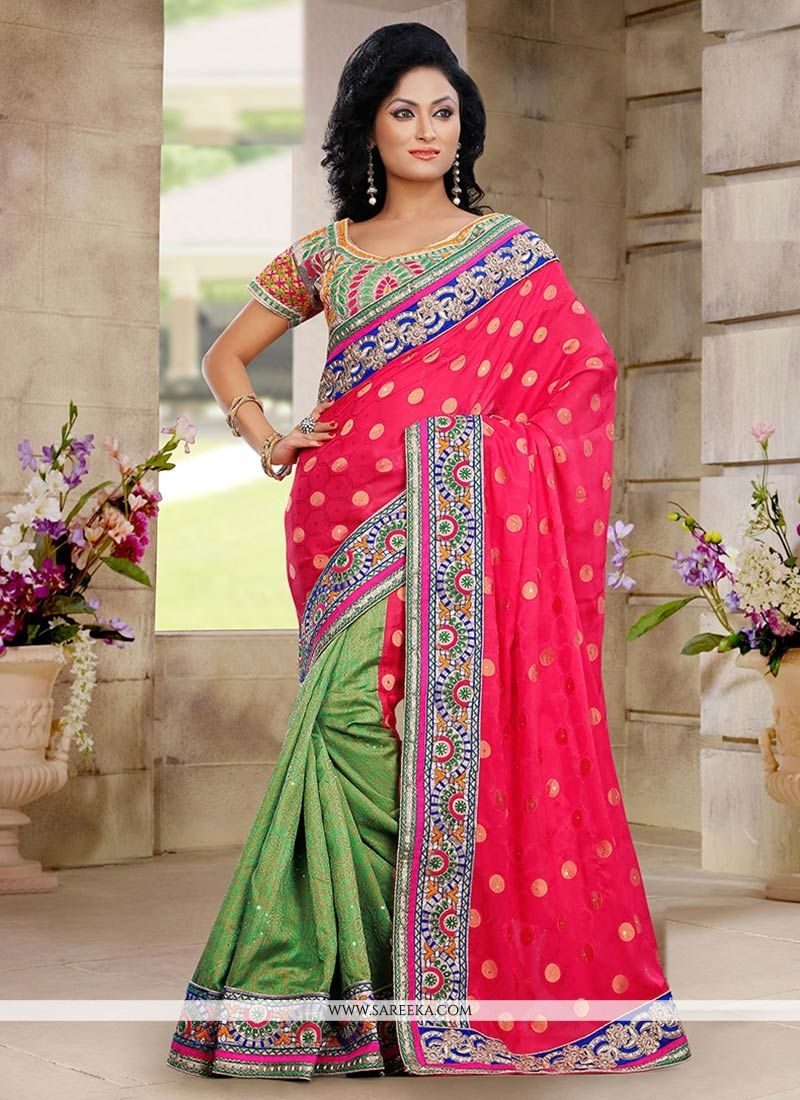 Pink And Green Viscose Half And Half Saree