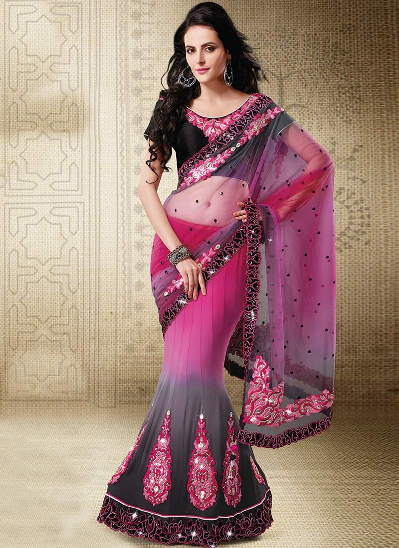 Pink And Grey Lehenga Style Saree