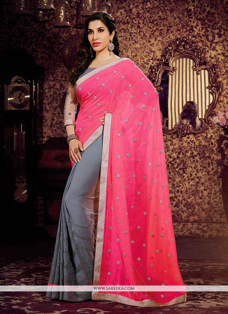 Pink And Grey Weight Less And Chiffon Saree
