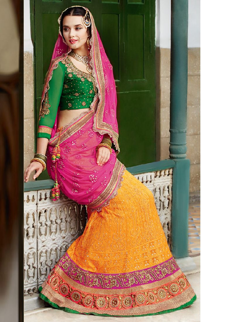 Pink And Mustard Net Lehenga Choli