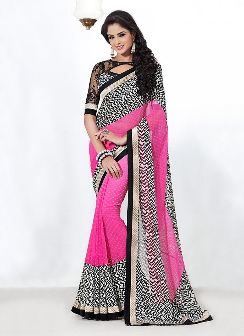 Pink And Off White Bamber Georgette Saree