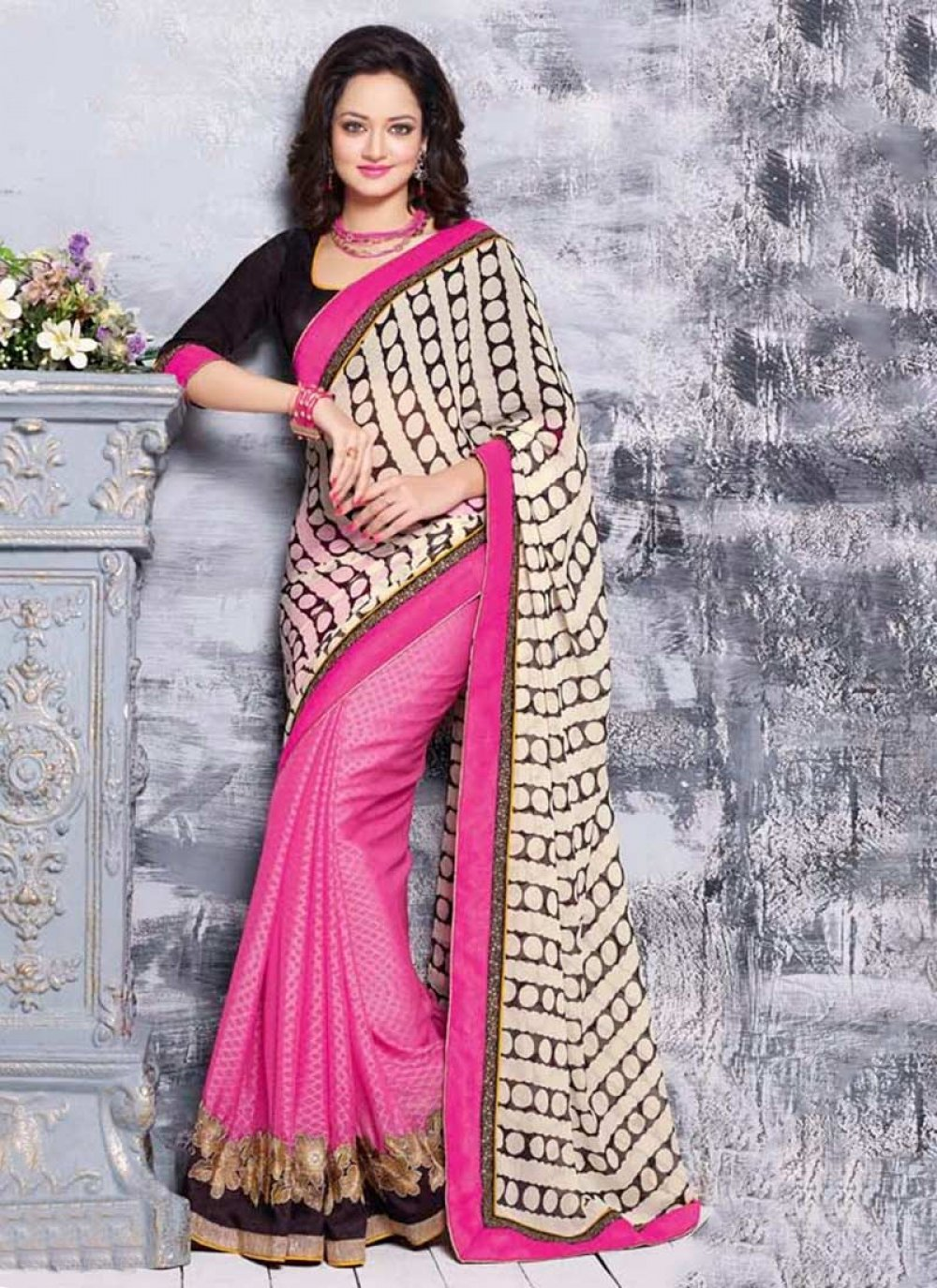 Pink And Off White Chiffon Half And Half Saree