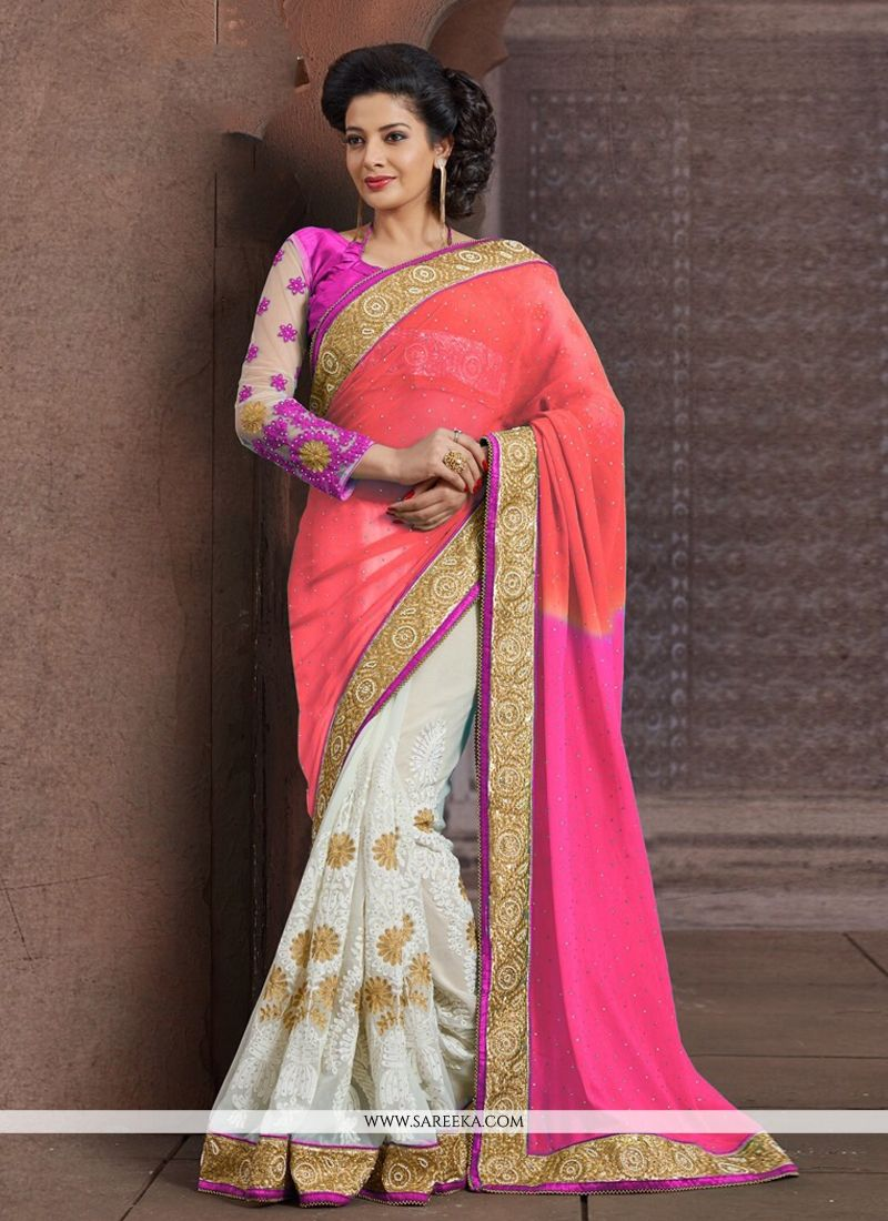 Pink And Off White Faux Chiffon Half And Half Saree