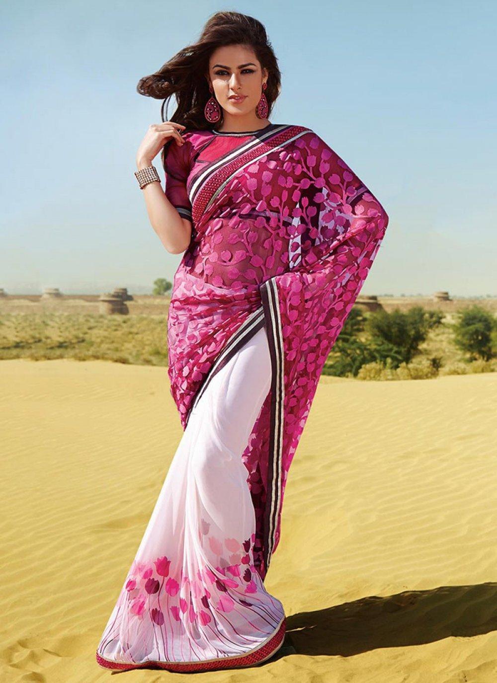 Pink And Off White Resham Georgette Half And Half Saree