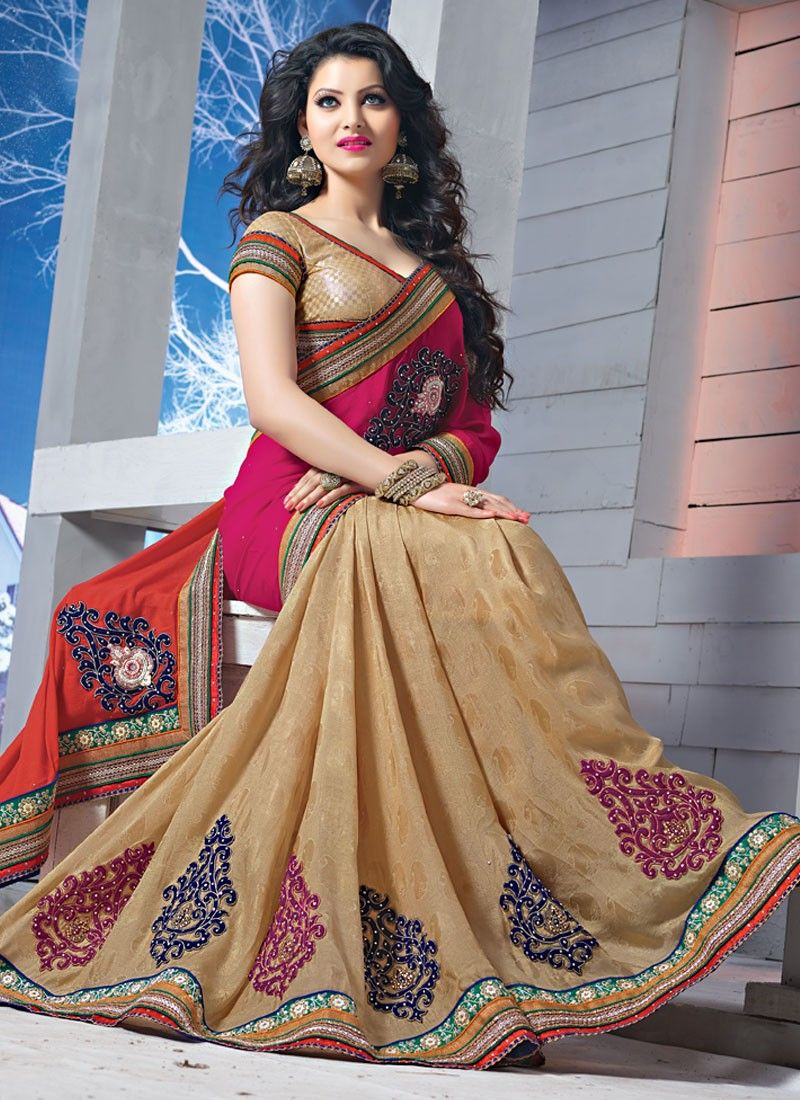 Pink And Orange Embroidery Pure Chiffon And Jacquard Saree