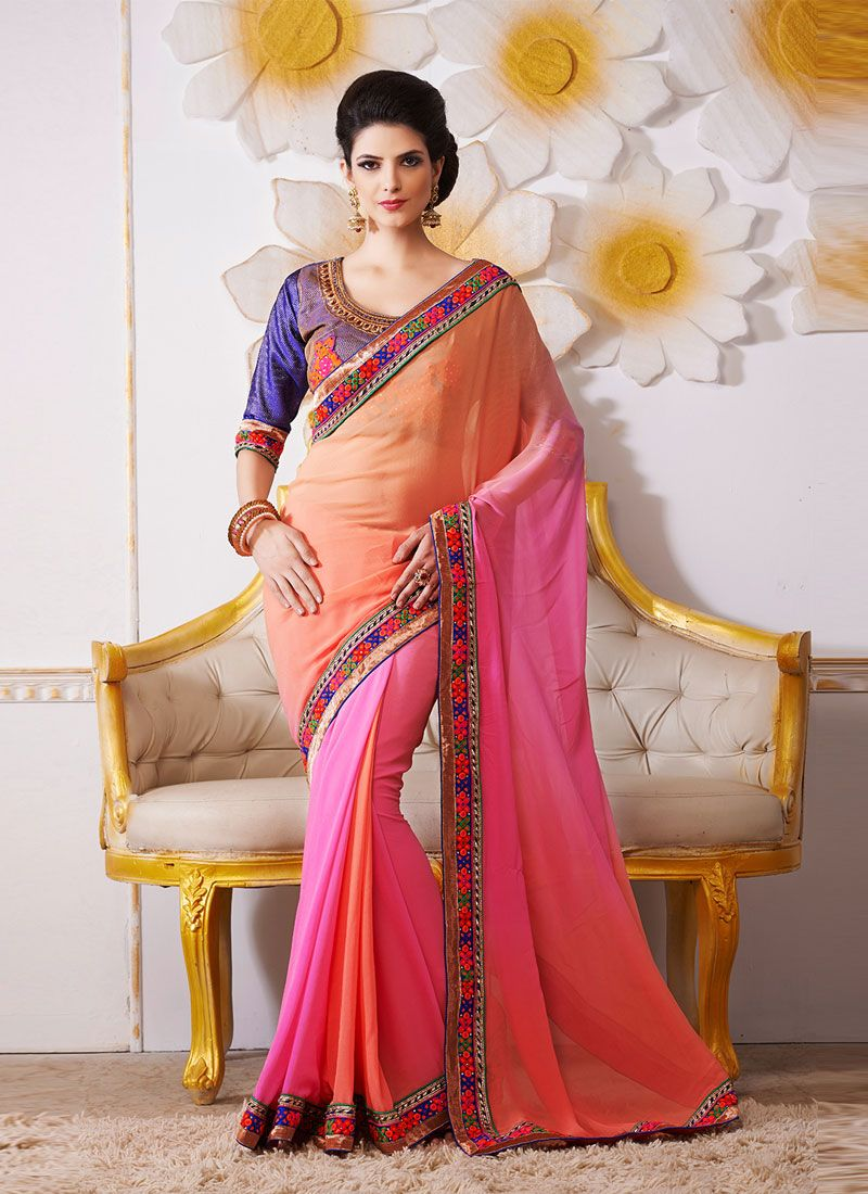 Pink And Orange Embroidery Work Bamber Designer Saree