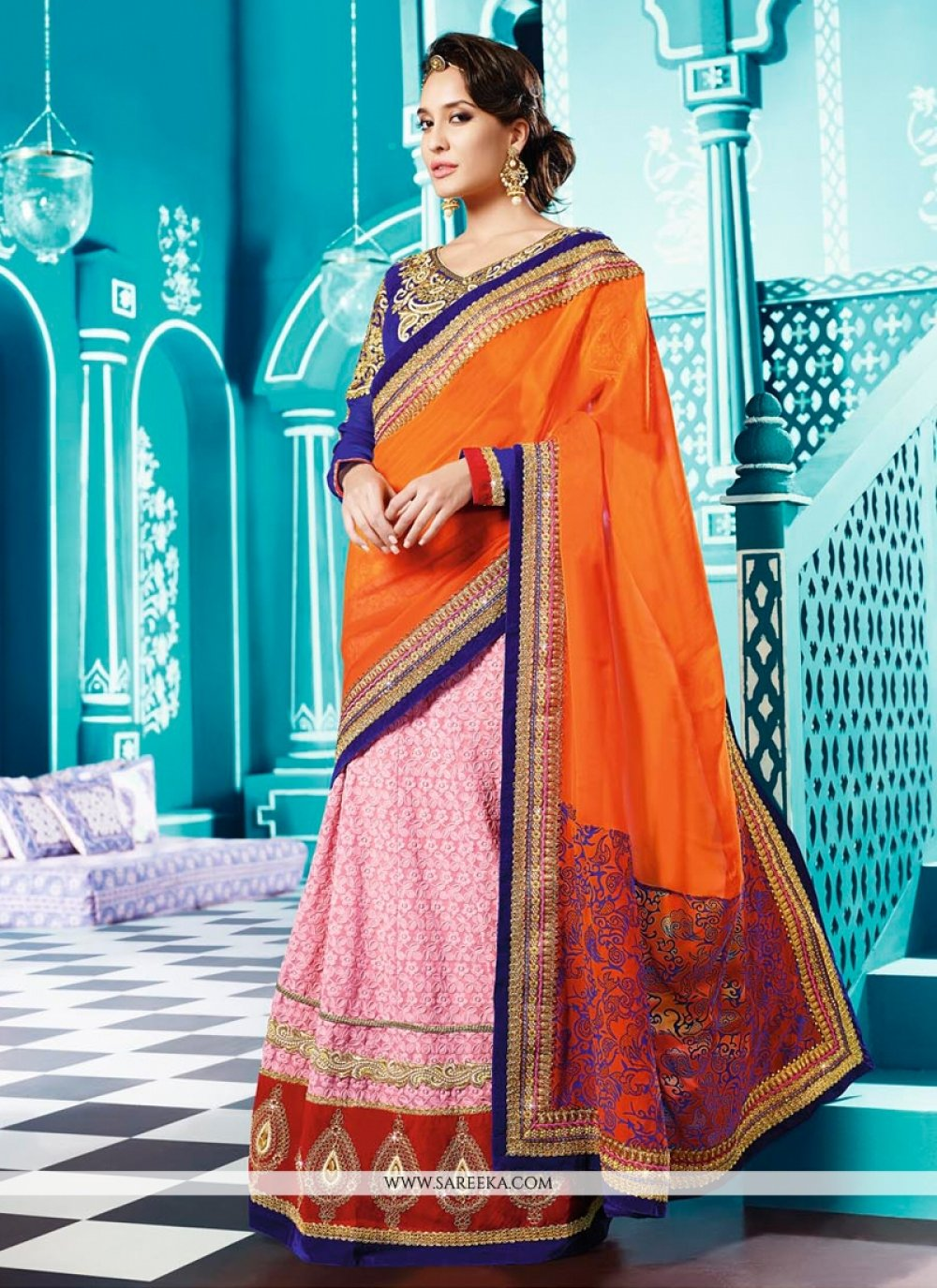 Lisa Haydon Pink And Orange Georgette Lehenga Saree