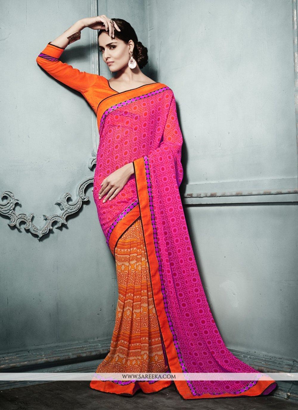 Pink And Orange Printed Casual Saree