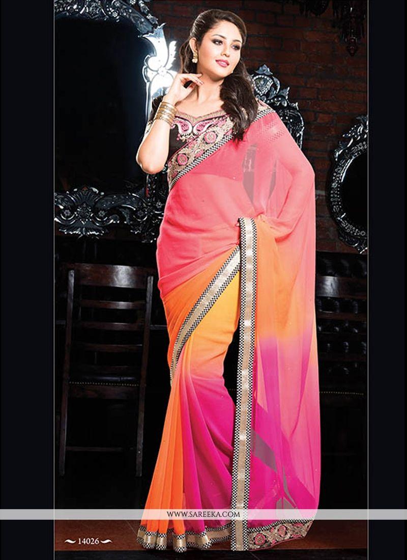 Pink And Orange Shaded Chiffon Saree