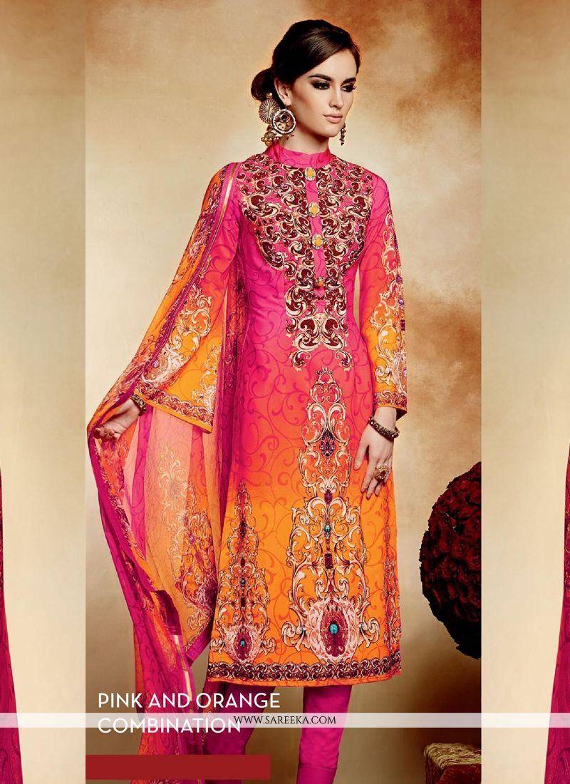 Pink And Orange Shaded Crepe Pant Style Suit
