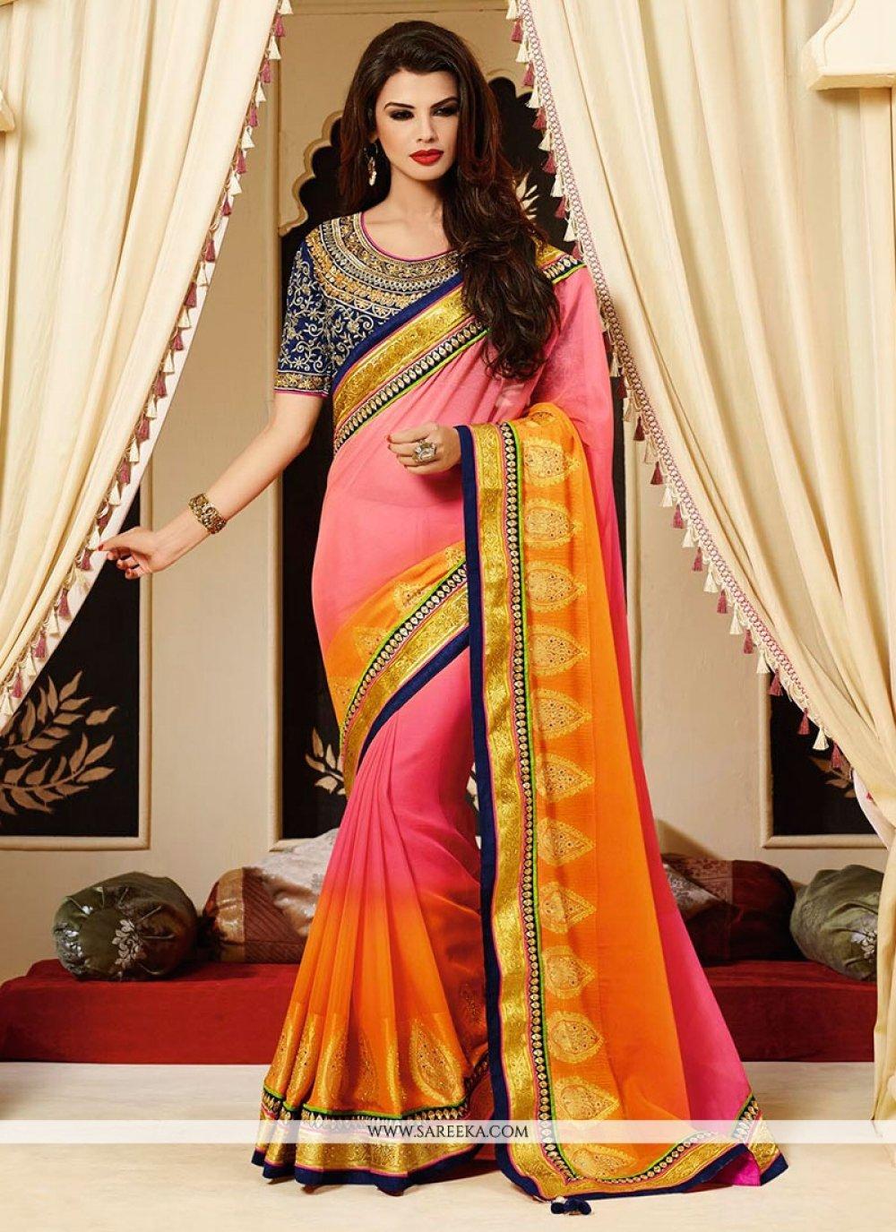 Pink And Orange Shaded Viscose Jacquard Saree