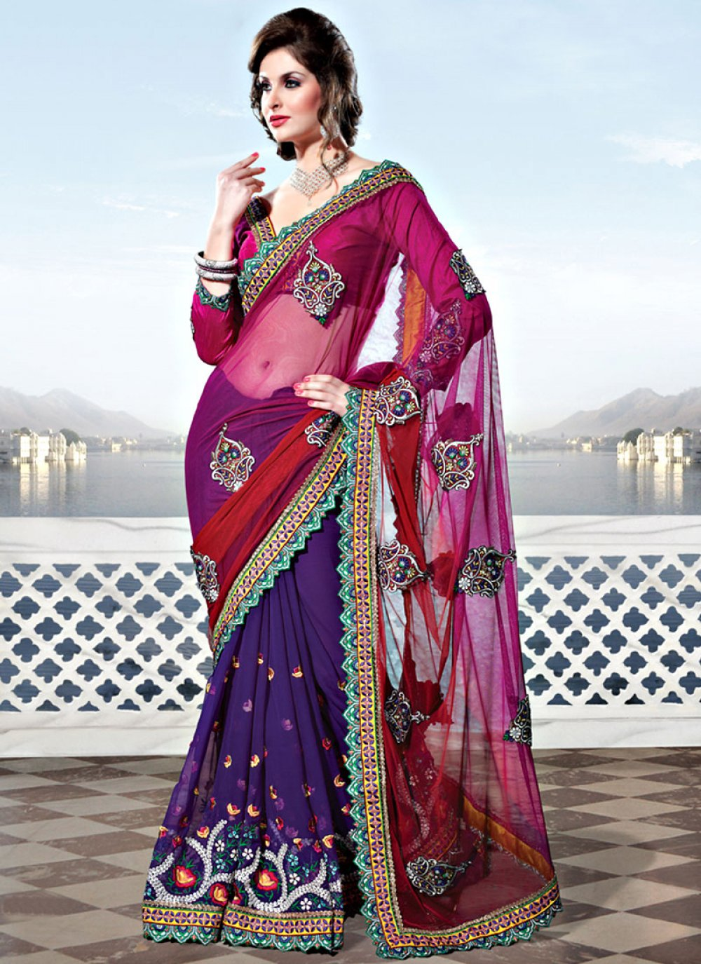 Pink and Purple Net and Georgette Saree