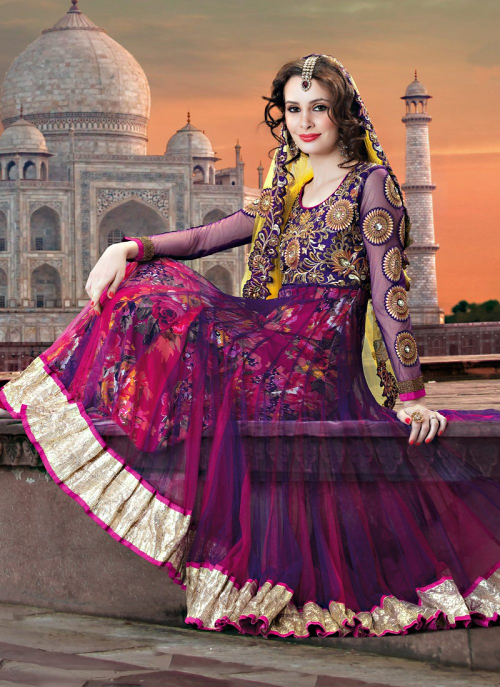Pink And Purple Printed Net Anarkali Suit