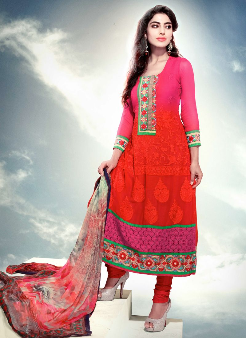 Pink And Red Shaded Chiffon Churidar Suit