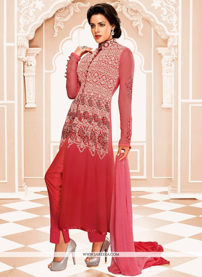 Pink And Red Shaded Georgette Salwar Suit