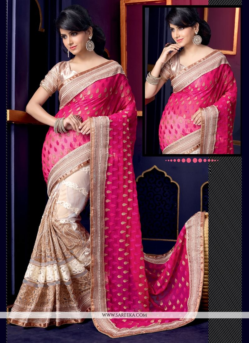 Pink And White Pure Georgette Designer Saree