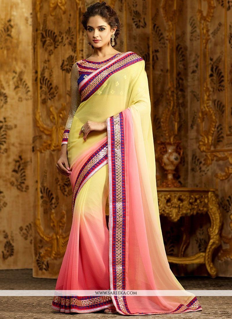 Pink And Yellow Shaded Chiffon Saree