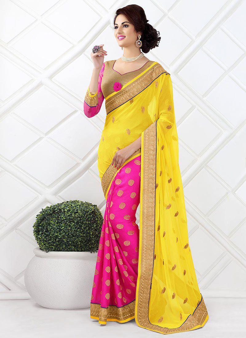 Pink And Yellow Viscose Designer Saree