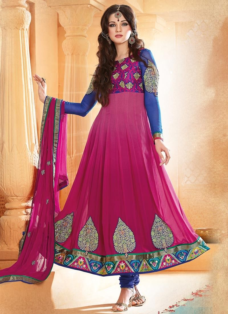 Pink Ankle Length Anarkali Suit