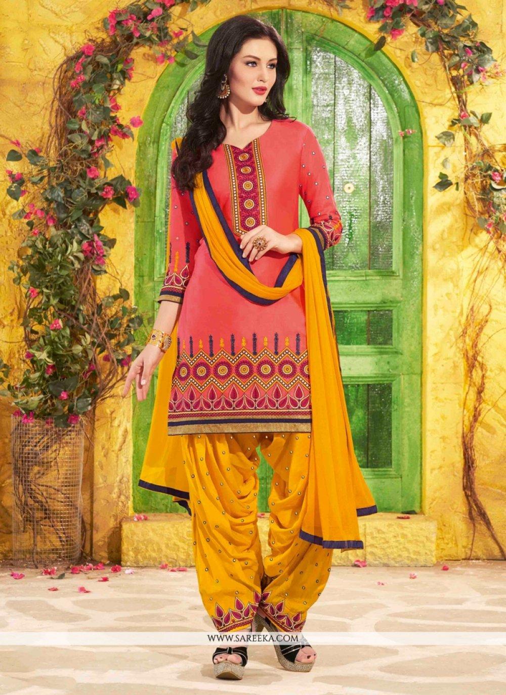 Pink Cotton   Designer Patiala Suit