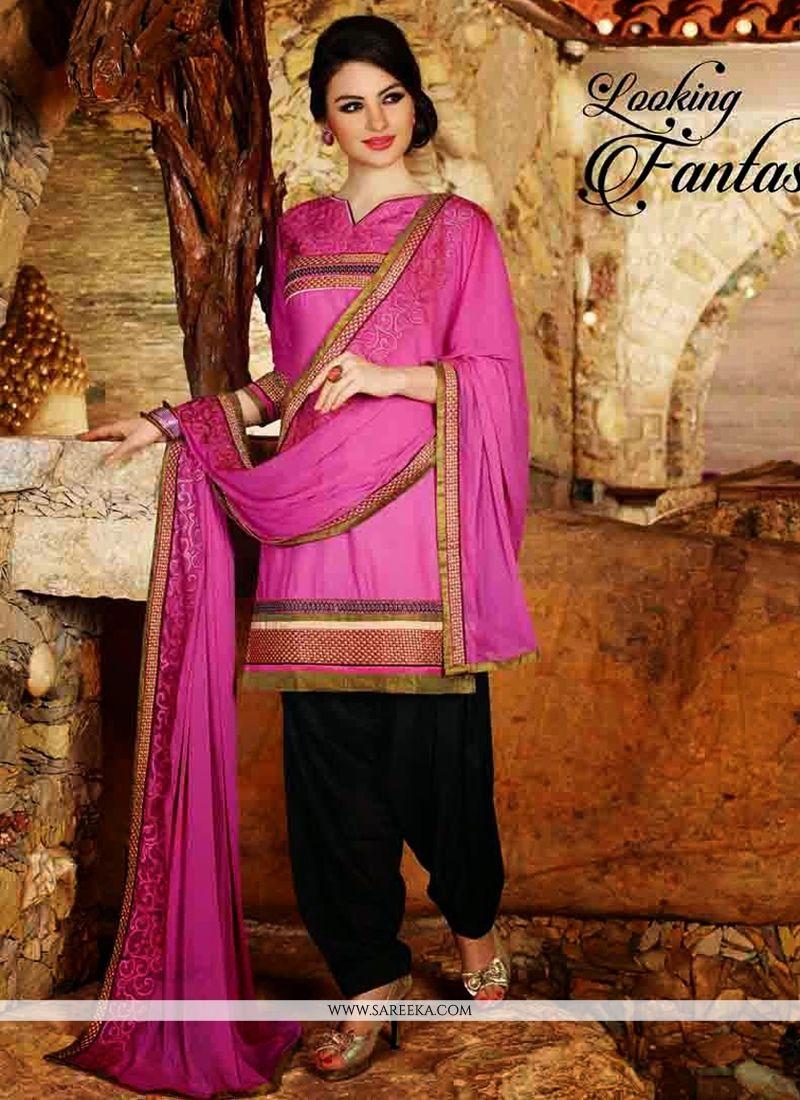 Pink Cotton Punjabi Salwar Suit