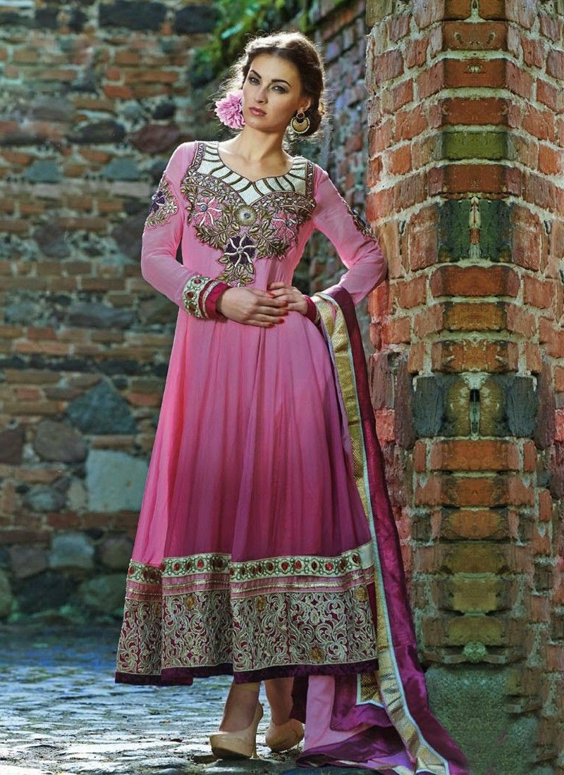 PInk Embroidery Border Work Anarkali Suit