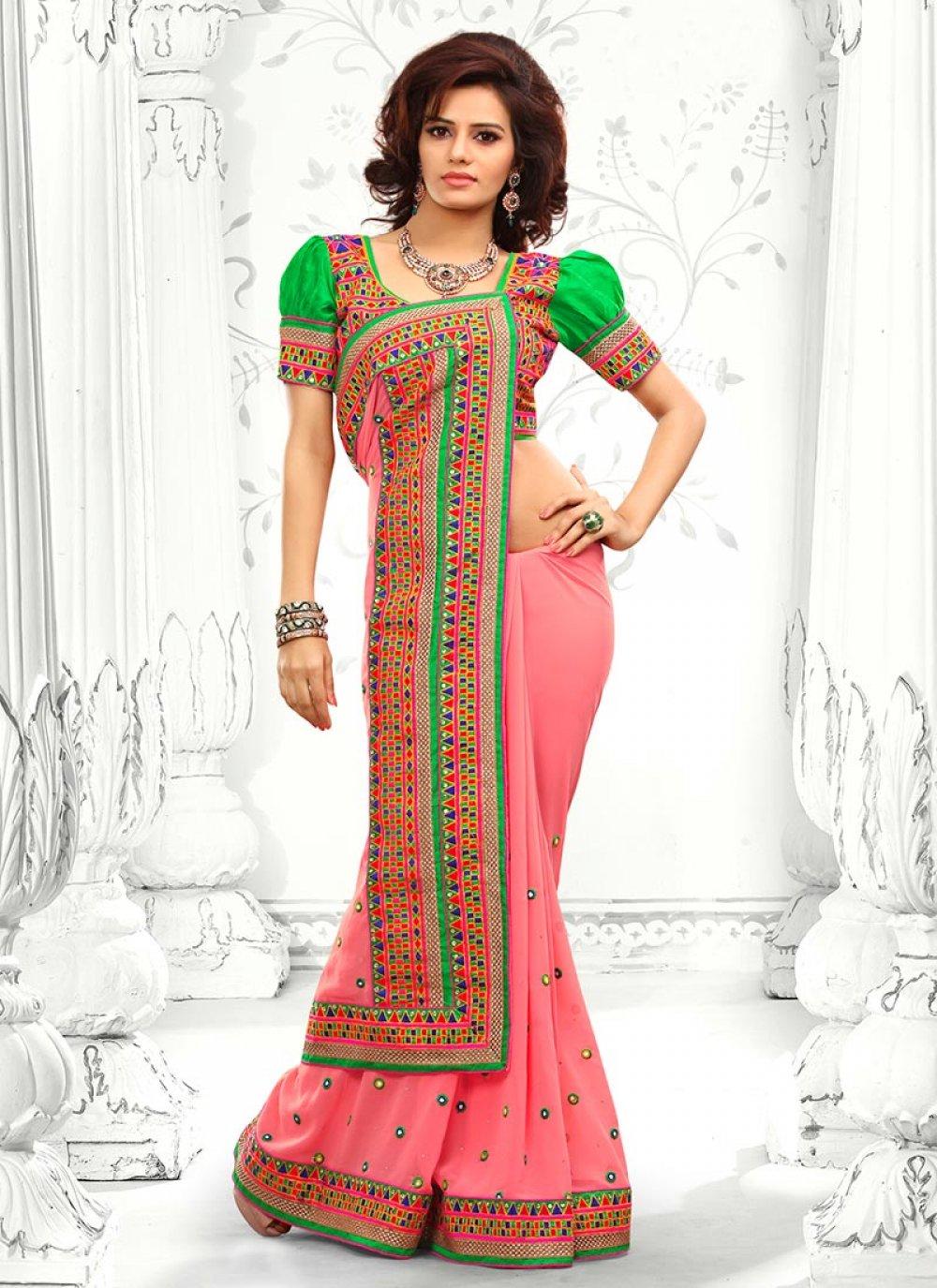 Pink Embroidery Work Designer Saree