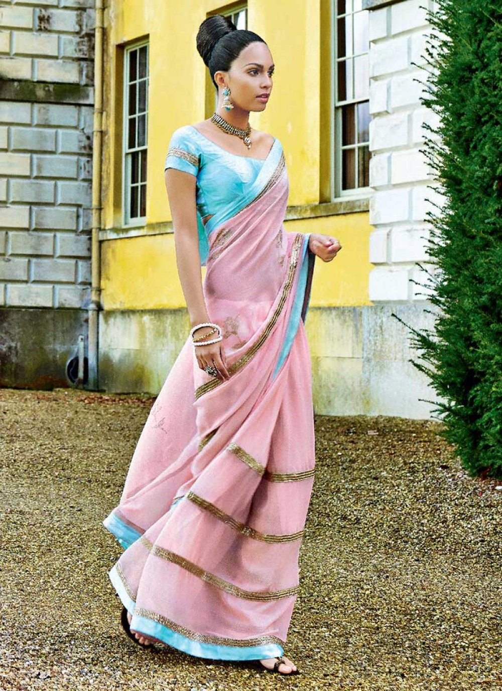 Pink Faux Chiffon Party Wear Saree