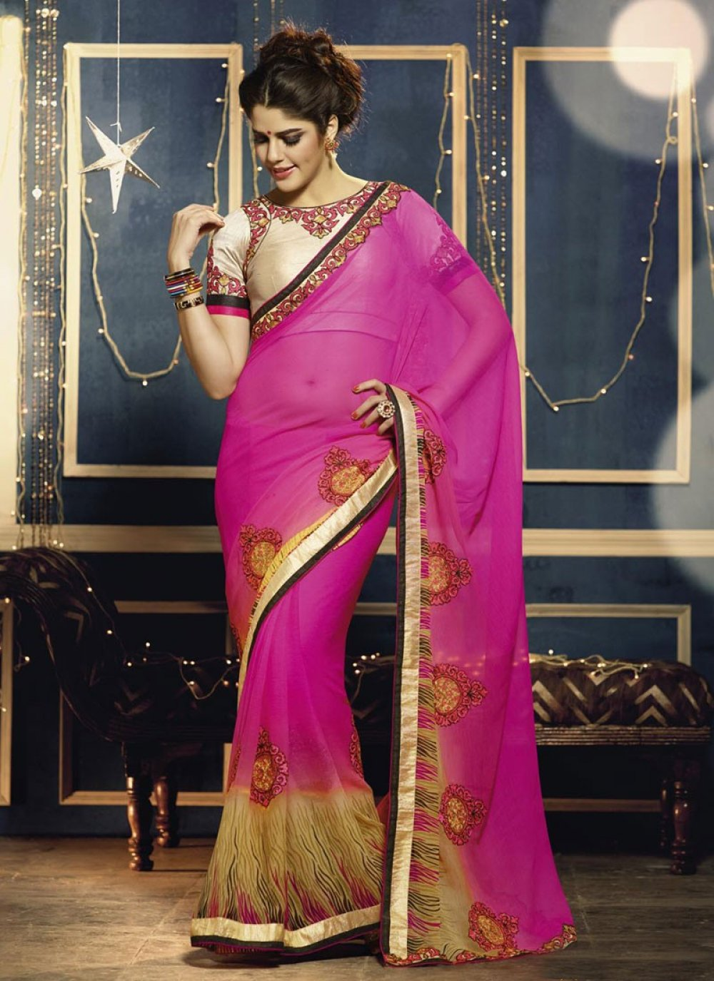 Pink Georgette Casual Saree