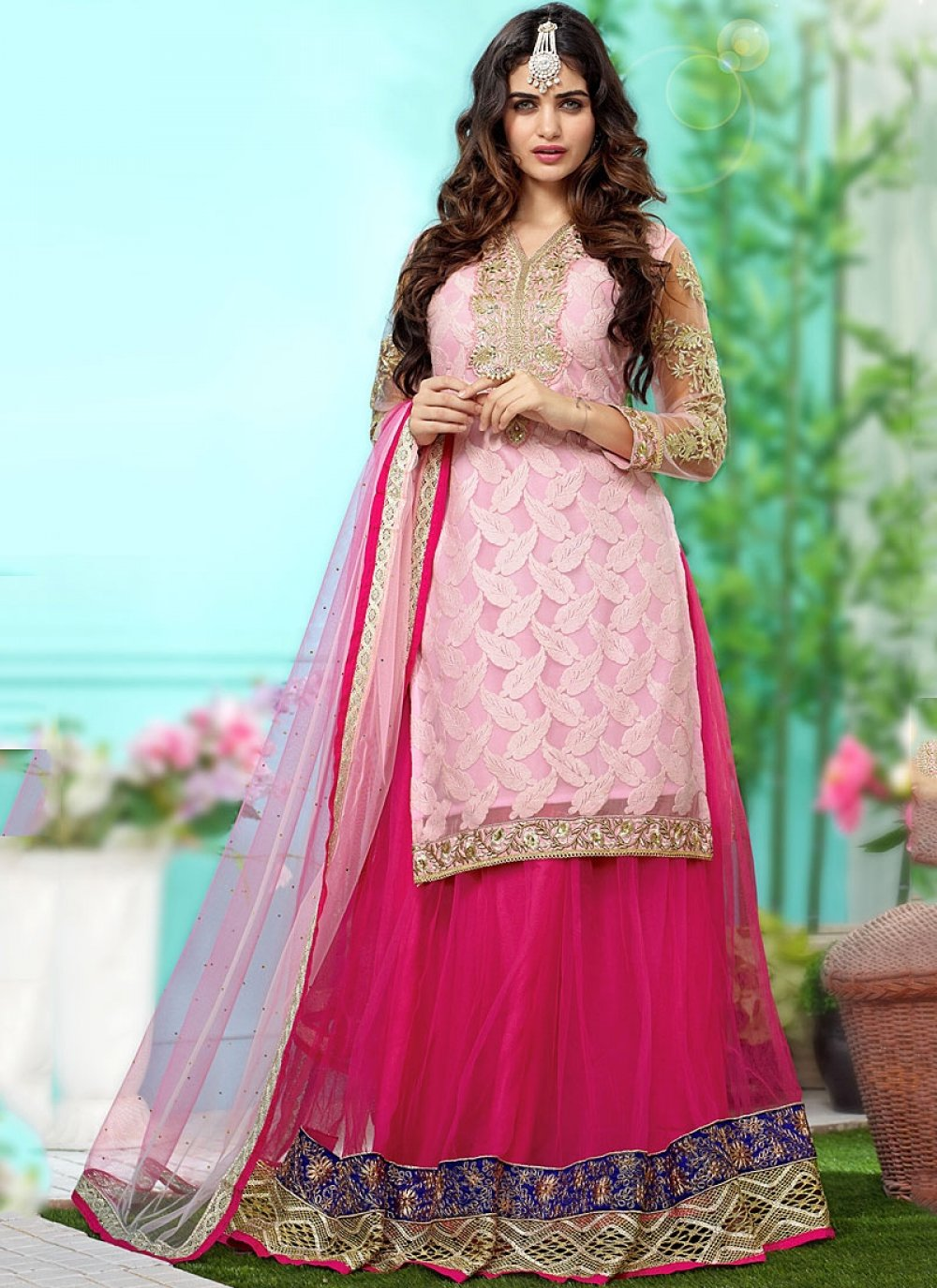 Pink Georgette Wedding Lehenga Choli